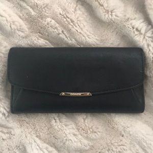 Black leather soft skinny wallet